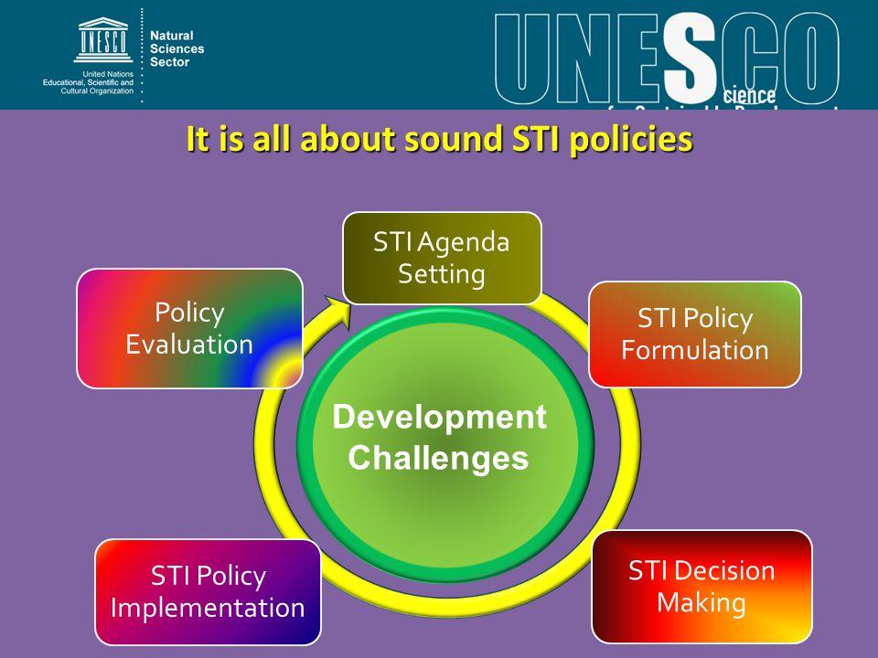 It is all about sound STI policies STI Agenda Setting STI Policy Formulation STI Decision Making STI Policy Implementation Policy Evaluation Development Challenges