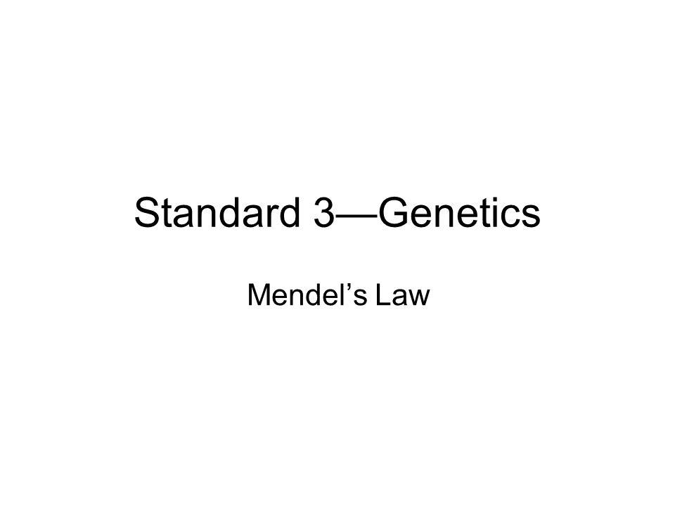 Standard 3—Genetics Mendel's Law