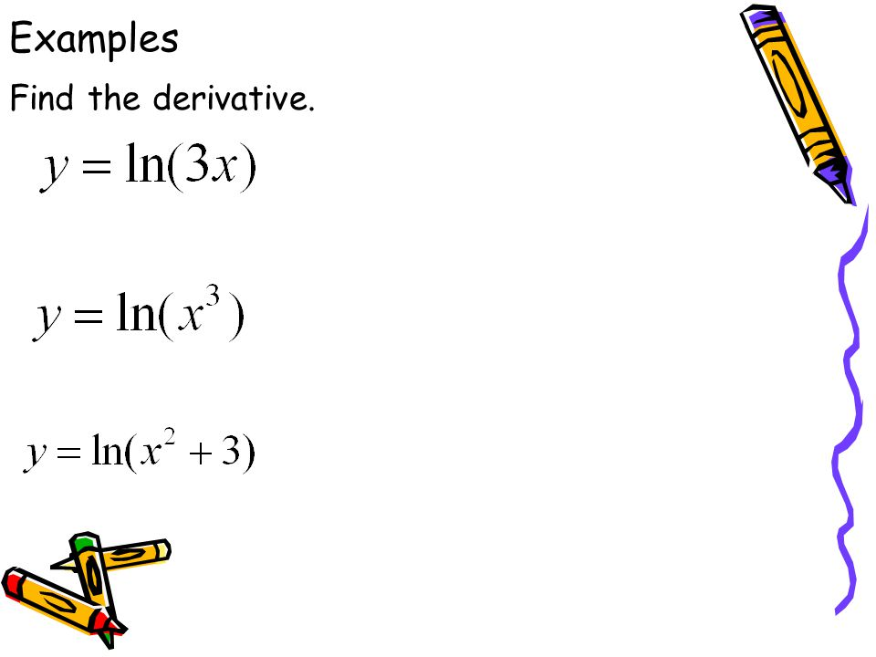 Examples Find the derivative.