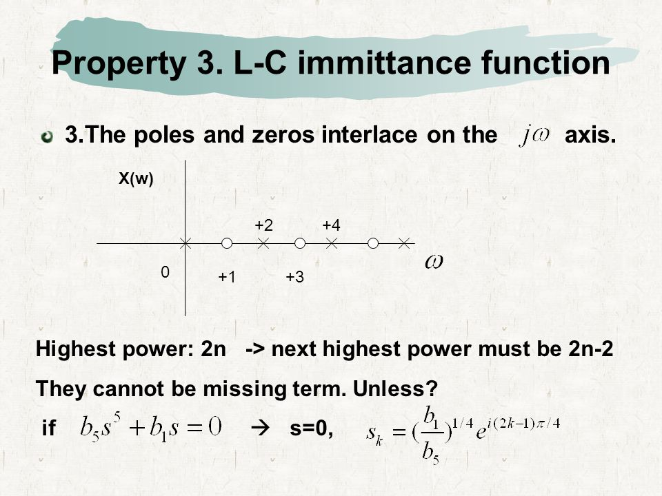 We can write a general L-C impedance or admittance as Since these poles are all on the jw axis, the residues must be real and positive in order for Z(s) to be positive real.