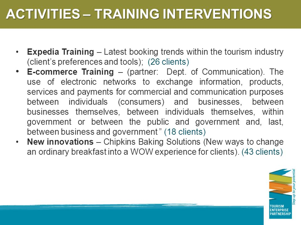 ACTIVITIES – TRAINING INTERVENTIONS Expedia Training – Latest booking trends within the tourism industry (client's preferences and tools); (26 clients) E-commerce Training – (partner: Dept.