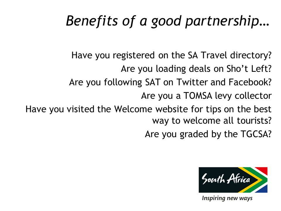 Benefits of a good partnership… Have you registered on the SA Travel directory.