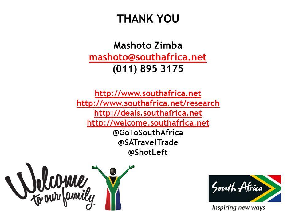 THANK YOU Mashoto Zimba mashoto@southafrica.net (011) 895 3175 http://www.southafrica.net http://www.southafrica.net/research http://deals.southafrica.net http://welcome.southafrica.net @GoToSouthAfrica @SATravelTrade @ShotLeft