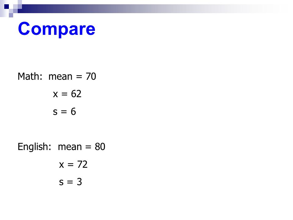 Compare Math: mean = 70 x = 62 s = 6 English: mean = 80 x = 72 s = 3