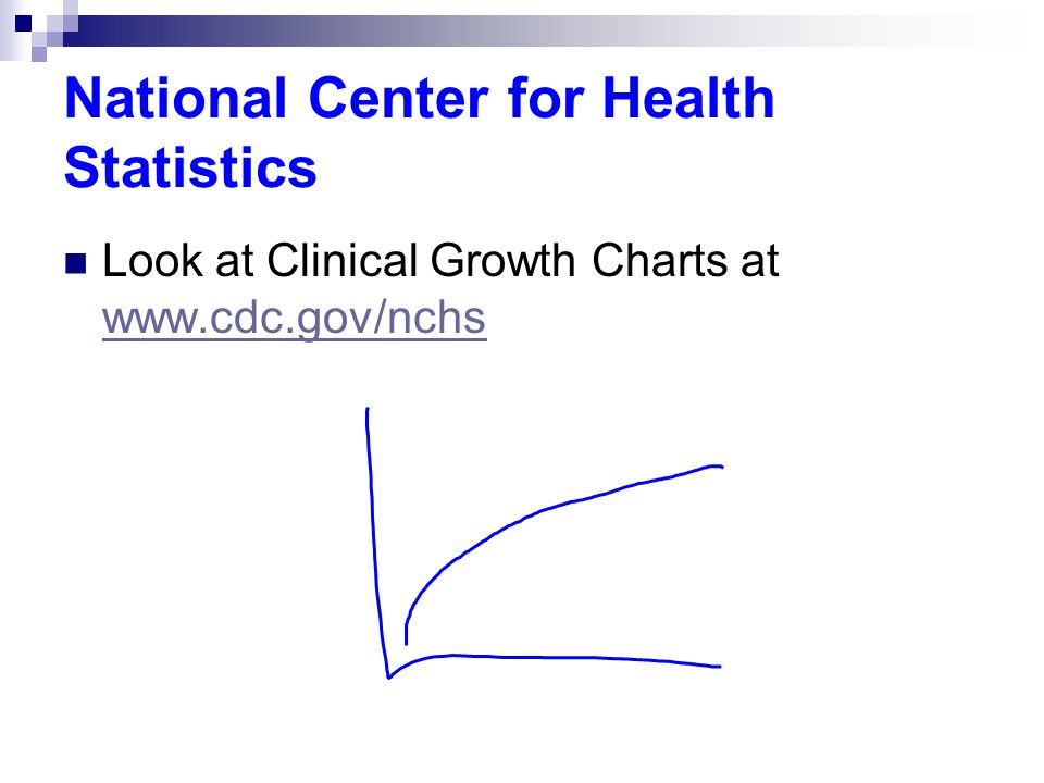 National Center for Health Statistics Look at Clinical Growth Charts at www.cdc.gov/nchs www.cdc.gov/nchs