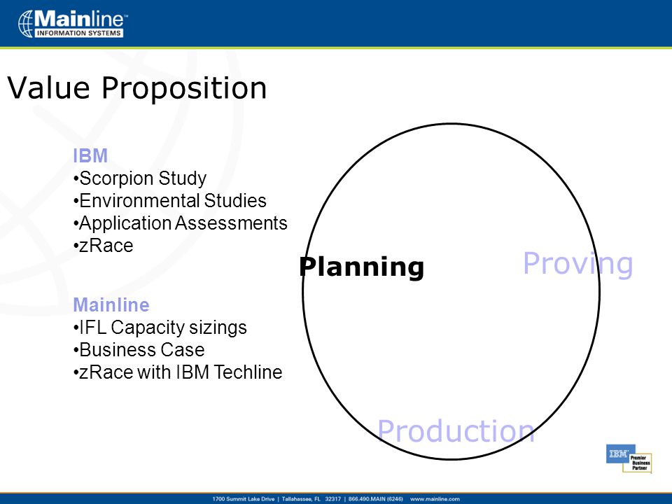 Value Proposition Planning Proving Production IBM Scorpion Study Environmental Studies Application Assessments zRace Mainline IFL Capacity sizings Business Case zRace with IBM Techline