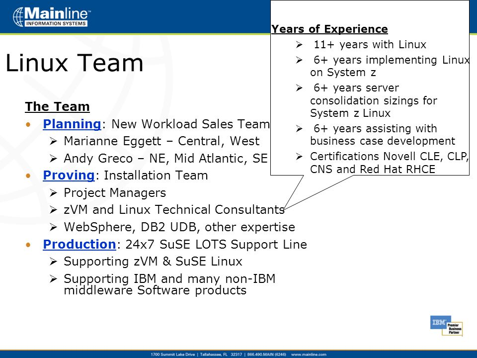 Linux Team The Team Planning: New Workload Sales Team  Marianne Eggett – Central, West  Andy Greco – NE, Mid Atlantic, SE Proving: Installation Team  Project Managers  zVM and Linux Technical Consultants  WebSphere, DB2 UDB, other expertise Production: 24x7 SuSE LOTS Support Line  Supporting zVM & SuSE Linux  Supporting IBM and many non-IBM middleware Software products Years of Experience  11+ years with Linux  6+ years implementing Linux on System z  6+ years server consolidation sizings for System z Linux  6+ years assisting with business case development  Certifications Novell CLE, CLP, CNS and Red Hat RHCE