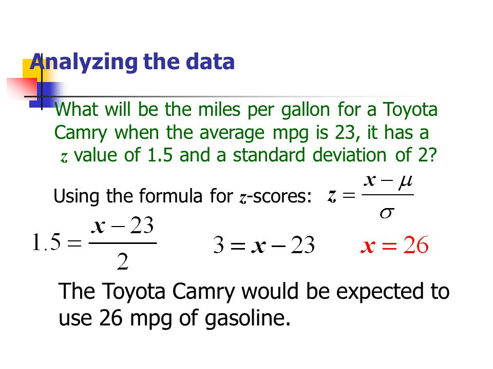 Analyzing the data What will be the miles per gallon for a Toyota Camry when the average mpg is 23, it has a z value of 1.5 and a standard deviation o