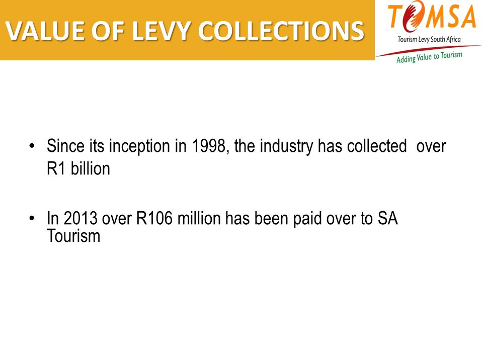 VALUE OF LEVY COLLECTIONS Since its inception in 1998, the industry has collected over R1 billion In 2013 over R106 million has been paid over to SA Tourism