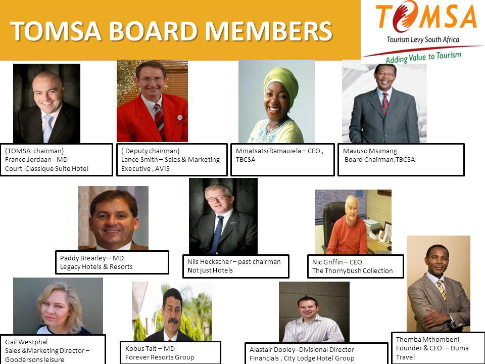 TOMSA BOARD MEMBERS (TOMSA chairman) Franco Jordaan - MD Court Classique Suite Hotel ( Deputy chairman) Lance Smith – Sales & Marketing Executive, AVIS Mmatsatsi Ramawela – CEO, TBCSA Mavuso Msimang Board Chairman,TBCSA Paddy Brearley – MD Legacy Hotels & Resorts Kobus Tait – MD Forever Resorts Group Nils Heckscher – past chairman Not just Hotels Nic Griffin – CEO The Thornybush Collection Alastair Dooley -Divisional Director Financials, City Lodge Hotel Group Gail Westphal Sales &Marketing Director – Goodersons leisure Themba Mthombeni Founder & CEO – Duma Travel