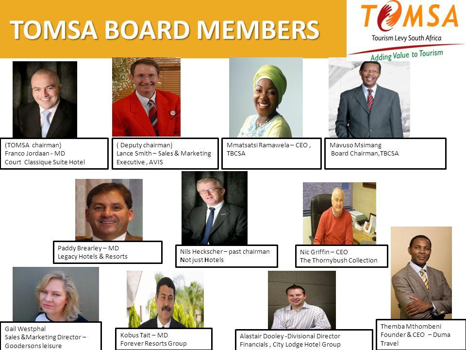 TOMSA BOARD MEMBERS (TOMSA chairman) Franco Jordaan - MD Court Classique Suite Hotel ( Deputy chairman) Lance Smith – Sales & Marketing Executive, AVI