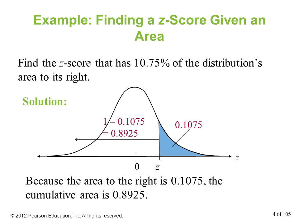 Example: Finding a z-Score Given an Area Find the z-score that has 10.75% of the distribution's area to its right.