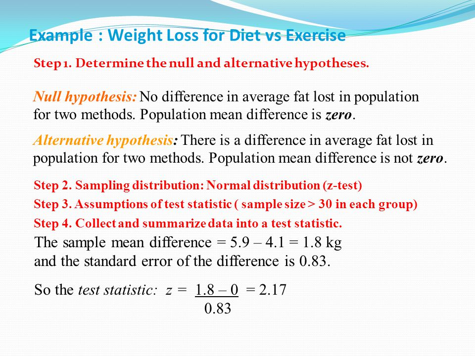 Example : Weight Loss for Diet vs Exercise Step 1.