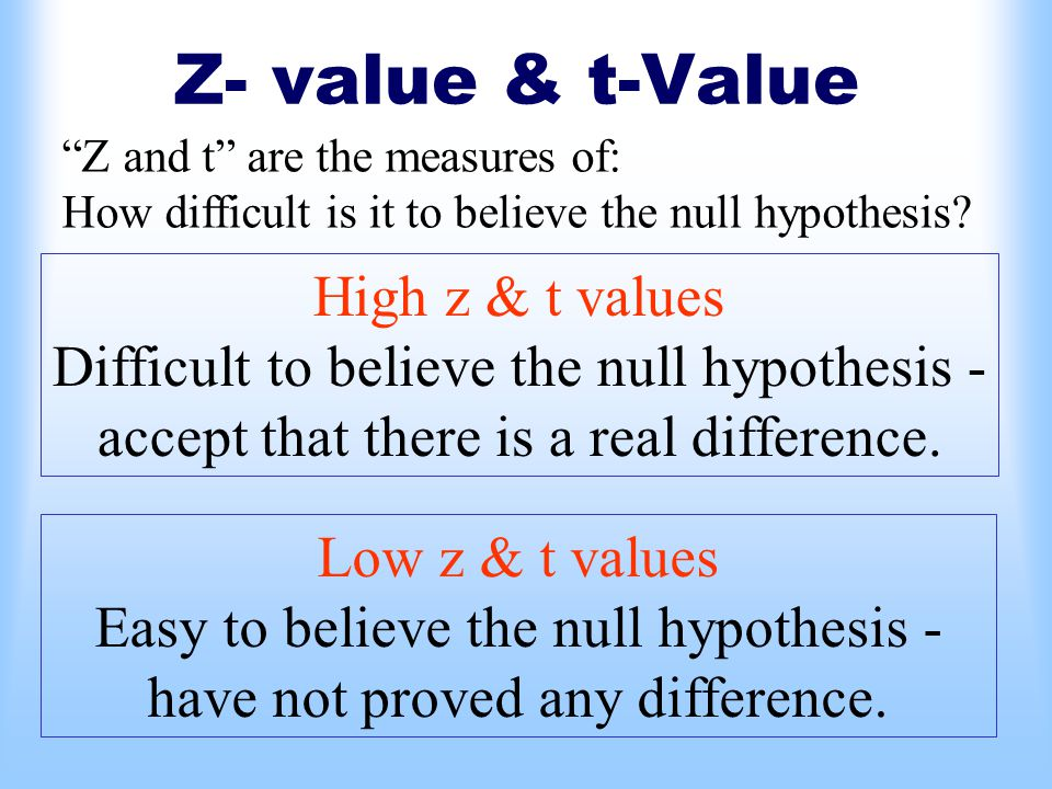 Z- value & t-Value Z and t are the measures of: How difficult is it to believe the null hypothesis.