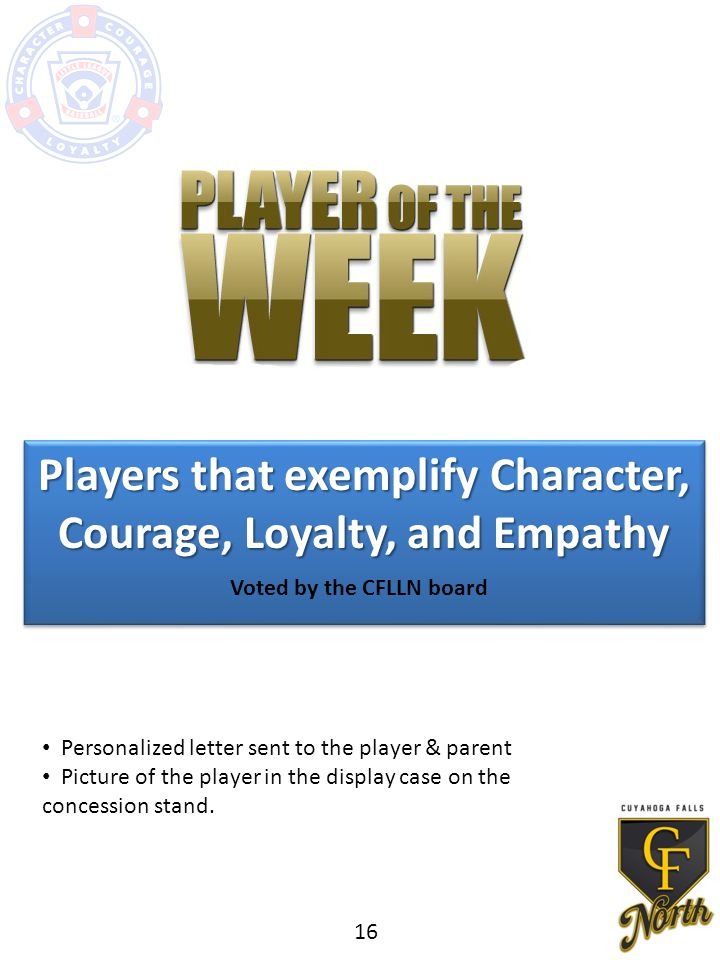 Players that exemplify Character, Courage, Loyalty, and Empathy Voted by the CFLLN board Personalized letter sent to the player & parent Picture of the player in the display case on the concession stand.