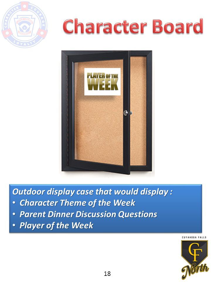 Outdoor display case that would display : Character Theme of the Week Character Theme of the Week Parent Dinner Discussion Questions Parent Dinner Discussion Questions Player of the Week Player of the Week Outdoor display case that would display : Character Theme of the Week Character Theme of the Week Parent Dinner Discussion Questions Parent Dinner Discussion Questions Player of the Week Player of the Week 18