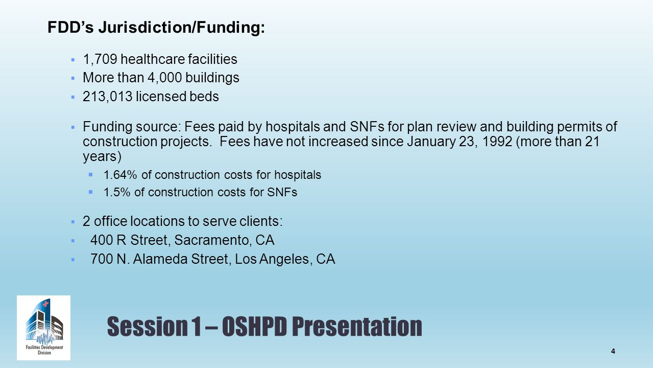 Session 1 – OSHPD Presentation FDD's Jurisdiction/Funding:  1,709 healthcare facilities  More than 4,000 buildings  213,013 licensed beds  Funding source: Fees paid by hospitals and SNFs for plan review and building permits of construction projects.