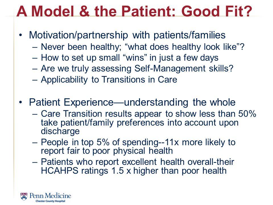 A Model & the Patient: Good Fit.