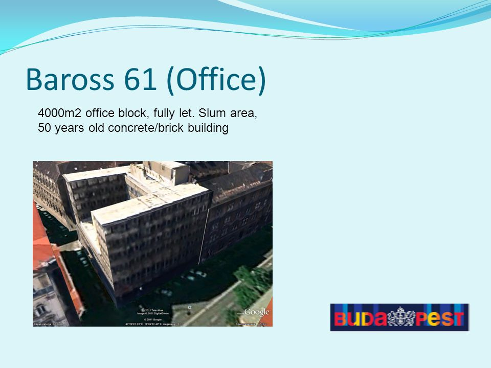 Baross 61 (Office) 4000m2 office block, fully let. Slum area, 50 years old concrete/brick building