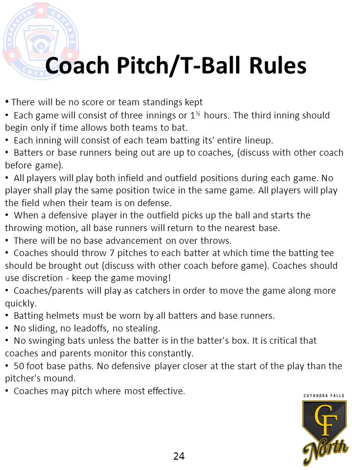 Coach Pitch/T-Ball Rules There will be no score or team standings kept Each game will consist of three innings or 1 ½ hours.
