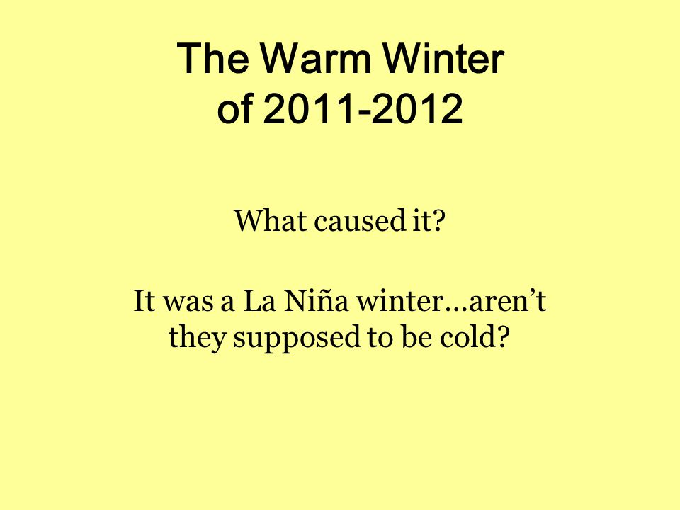 The Warm Winter of 2011-2012 What caused it.