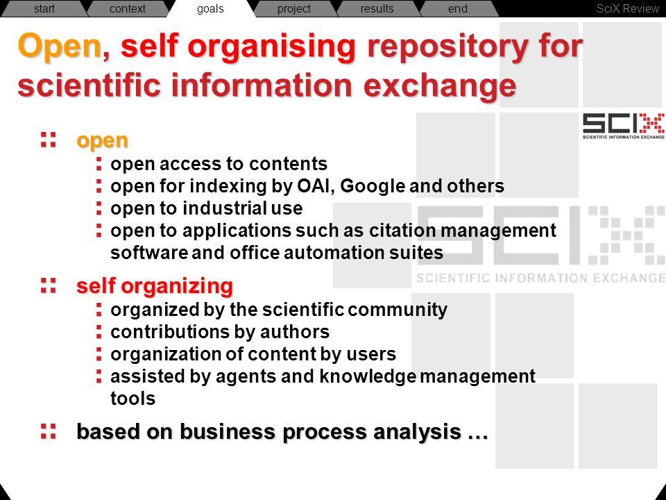 SciX Review endresultsprojectgoalscontextstart Open, self organising repository for scientific information exchange open open access to contents open