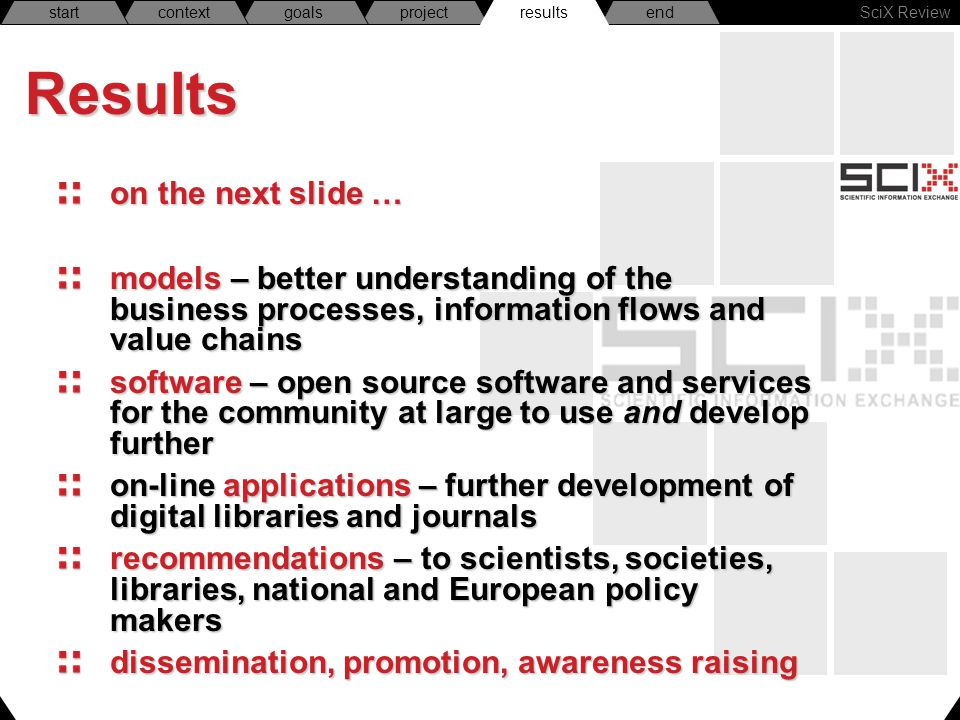 SciX Review endresultsprojectgoalscontextstartResults on the next slide … models – better understanding of the business processes, information flows and value chains software – open source software and services for the community at large to use and develop further on-line applications – further development of digital libraries and journals recommendations – to scientists, societies, libraries, national and European policy makers dissemination, promotion, awareness raising results