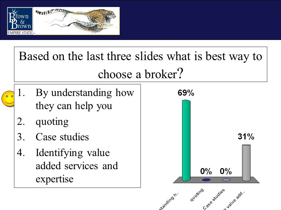 Based on the last three slides what is best way to choose a broker ? 1.By understanding how they can help you 2.quoting 3.Case studies 4.Identifying v