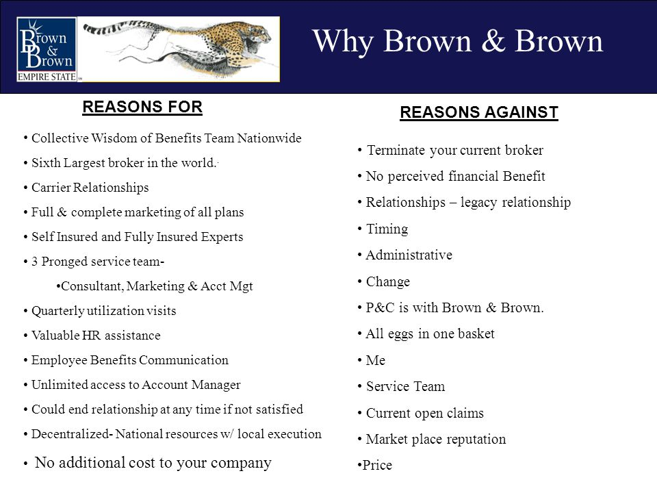 Why Brown & Brown REASONS FOR Collective Wisdom of Benefits Team Nationwide Sixth Largest broker in the world.. Carrier Relationships Full & complete