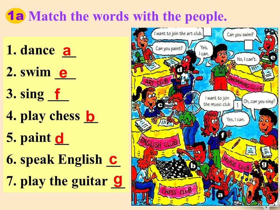 1a Match the words with the people. 1. dance __ 2.