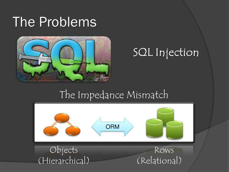 The Problems SQL Injection Objects (Hierarchical) Rows (Relational) The Impedance Mismatch