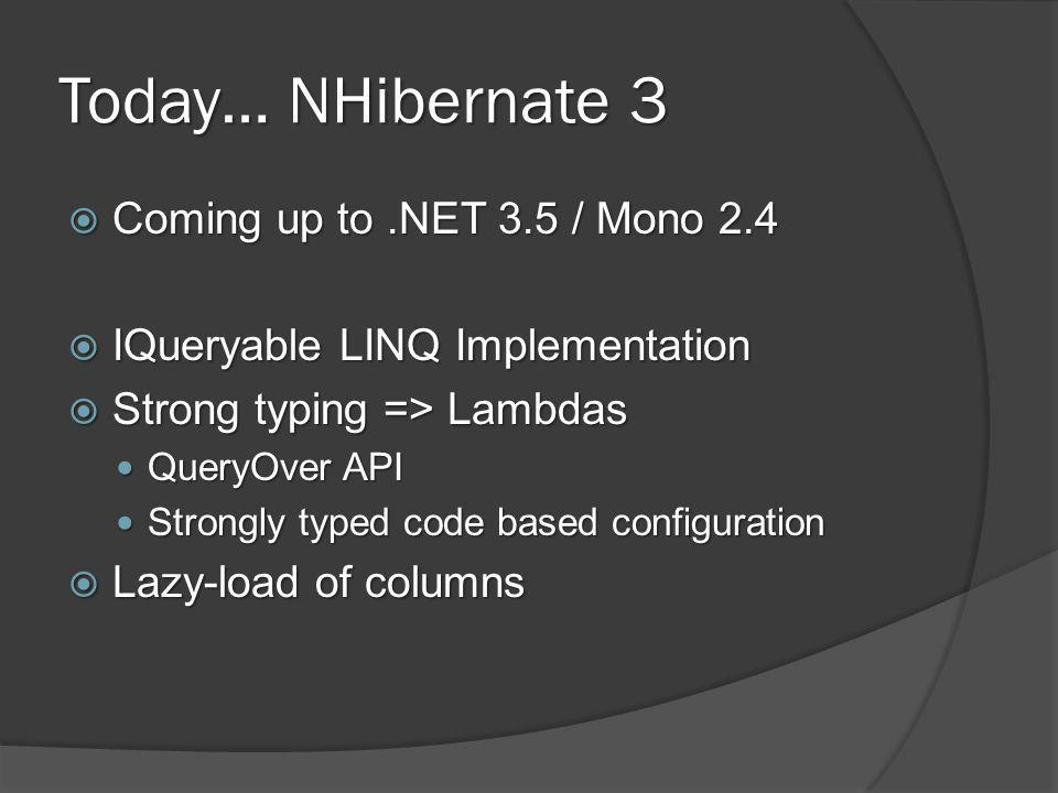 Today… NHibernate 3  Coming up to.NET 3.5 / Mono 2.4  IQueryable LINQ Implementation  Strong typing => Lambdas QueryOver API QueryOver API Strongly typed code based configuration Strongly typed code based configuration  Lazy-load of columns