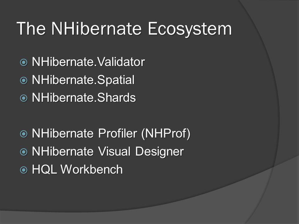 The NHibernate Ecosystem  NHibernate.Validator  NHibernate.Spatial  NHibernate.Shards  NHibernate Profiler (NHProf)  NHibernate Visual Designer  HQL Workbench
