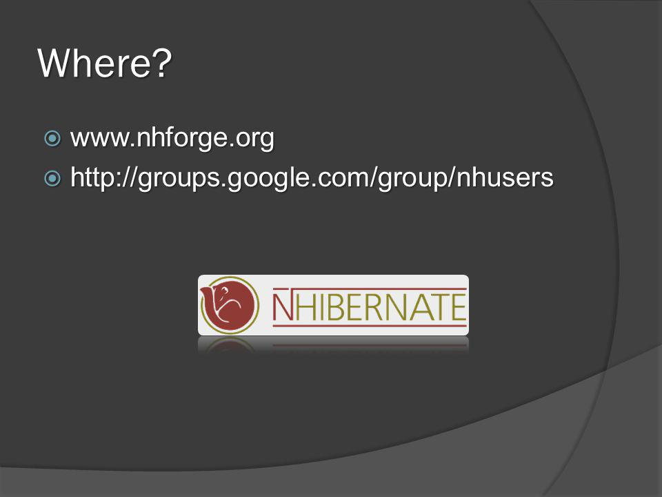 Where  www.nhforge.org  http://groups.google.com/group/nhusers