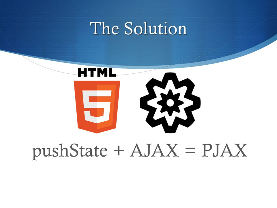 The Solution pushState + AJAX = PJAX