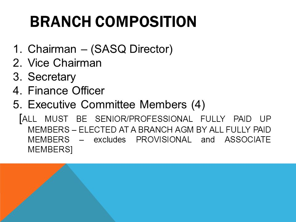 BRANCH COMPOSITION 1.Chairman – (SASQ Director) 2.Vice Chairman 3.Secretary 4.Finance Officer 5.Executive Committee Members (4) [ ALL MUST BE SENIOR/P