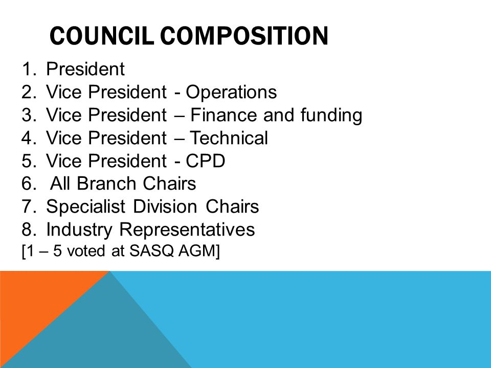 COUNCIL COMPOSITION 1.President 2.Vice President - Operations 3.Vice President – Finance and funding 4.Vice President – Technical 5.Vice President - C