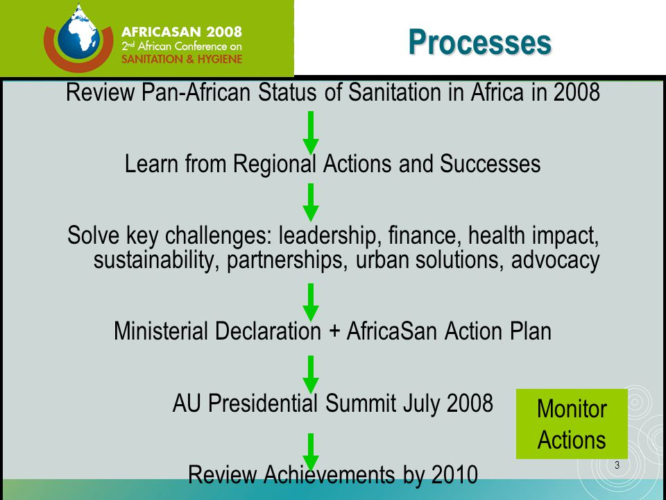4 Program Day One Feb 18 Day Two Feb 19 Day Three Feb 20 Opening Ceremony 6 Technical Seminars Ministerial Roundtable and Political Statement Status of Sanitation/Hygiene in Africa Launch AfricaSan Action Plan Sub-regional Caucuses Closing Learn from Successes eThekwini Field Trips Side Events, Exhibition, Videos, Posters 8 Technical Seminars on Key Problems (behaviour change, leadership, finance, health impact, sustainability, partnerships, urban solutions, advocacy)