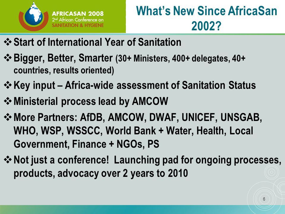 6 What's New Since AfricaSan 2002.
