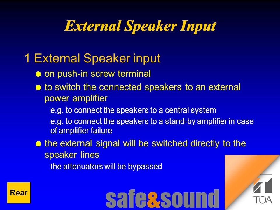 Background Design: Torsten Kranz Design: Torsten Kranz @ TEE  1 External Speaker input l on push-in screw terminal l to switch the connected speakers to an external power amplifier e.g.