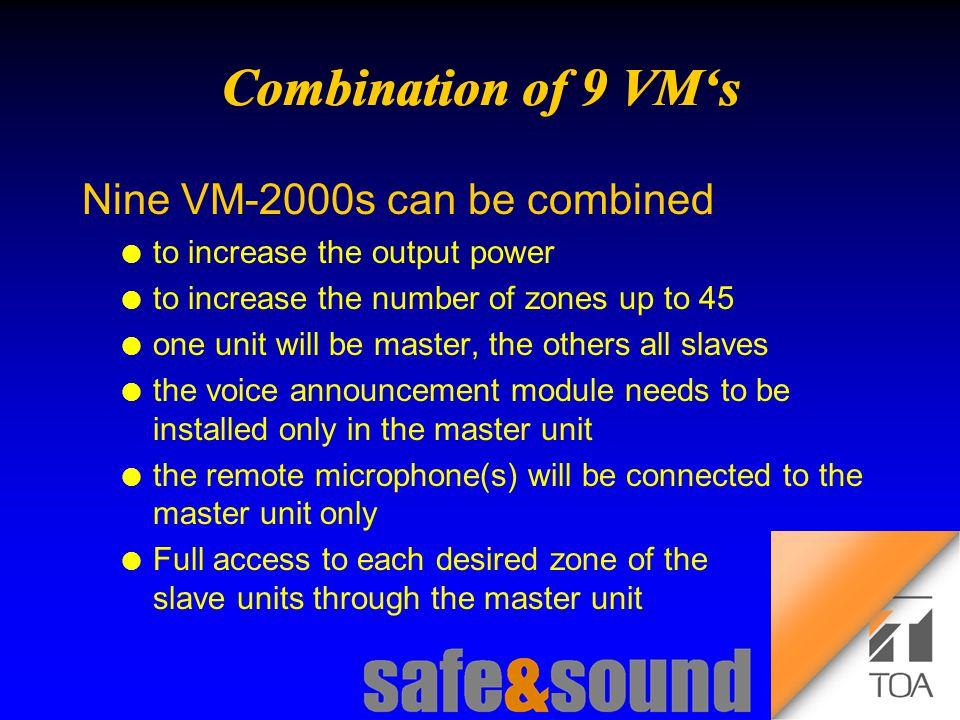 Background Design: Torsten Kranz Design: Torsten Kranz @ TEE  '  Nine VM-2000s can be combined l to increase the output power l to increase the number of zones up to 45 l one unit will be master, the others all slaves l the voice announcement module needs to be installed only in the master unit l the remote microphone(s) will be connected to the master unit only l Full access to each desired zone of the slave units through the master unit