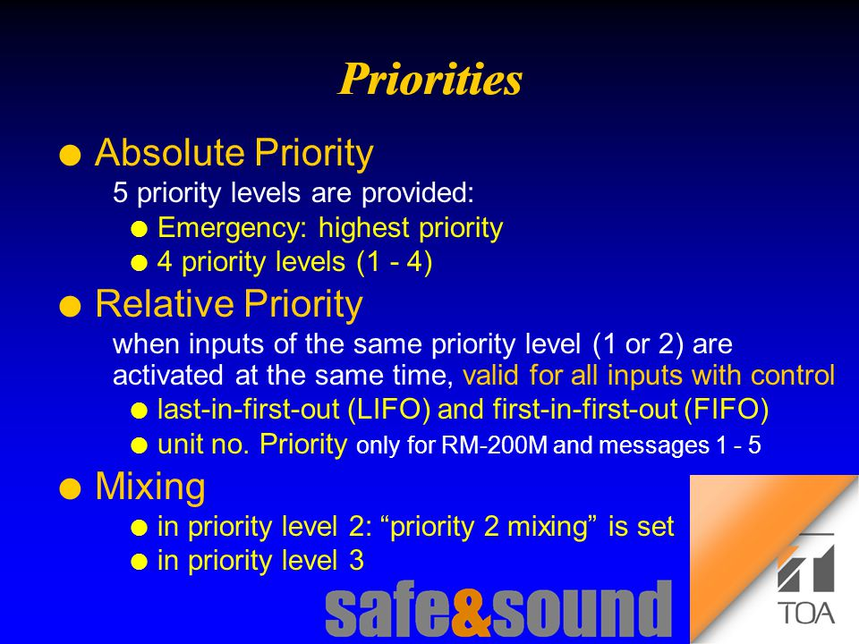 Background Design: Torsten Kranz Design: Torsten Kranz @ TEE  l Absolute Priority 5 priority levels are provided: l Emergency: highest priority l 4 priority levels (1 - 4) l Relative Priority when inputs of the same priority level (1 or 2) are activated at the same time, valid for all inputs with control l last-in-first-out (LIFO) and first-in-first-out (FIFO) l unit no.