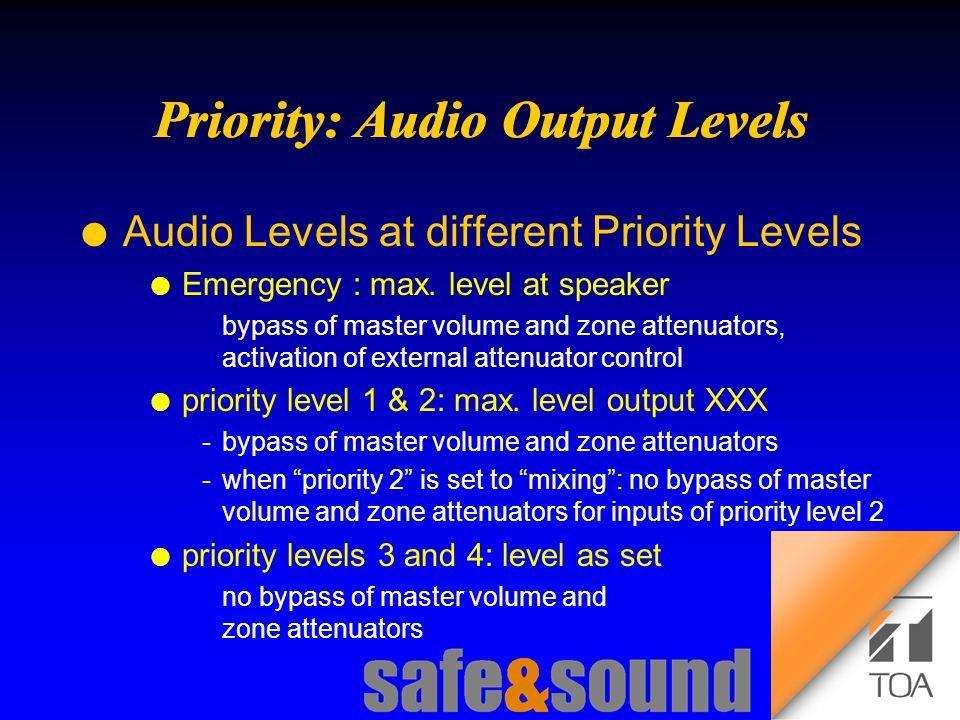Background Design: Torsten Kranz Design: Torsten Kranz @ TEE  l Audio Levels at different Priority Levels l Emergency : max.