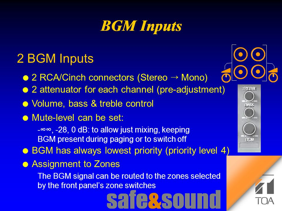Background Design: Torsten Kranz Design: Torsten Kranz @ TEE  2 BGM Inputs l 2 RCA/Cinch connectors (Stereo  Mono) l 2 attenuator for each channel (pre-adjustment) l Volume, bass & treble control BASS TREBLE BGM l Mute-level can be set: -∞∞, -28, 0 dB: to allow just mixing, keeping BGM present during paging or to switch off l BGM has always lowest priority (priority level 4) l Assignment to Zones The BGM signal can be routed to the zones selected by the front panel's zone switches
