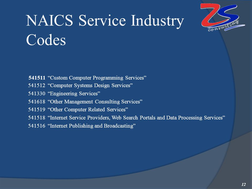"NAICS Service Industry Codes 541511 ""Custom Computer Programming Services"" 541512 ""Computer Systems Design Services""  541330 ""Engineering Services"" "