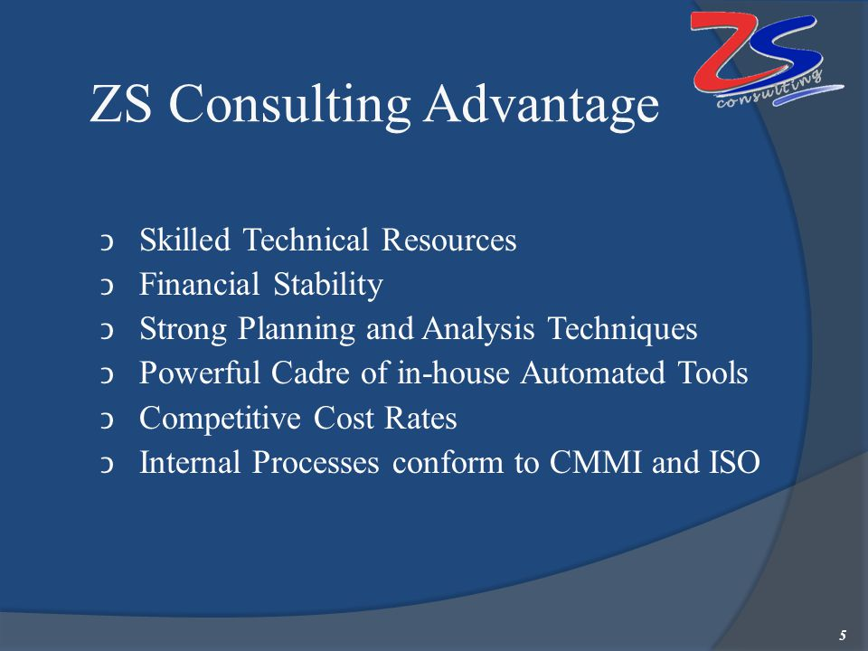 ZS Consulting Advantage Skilled Technical Resources Financial Stability Strong Planning and Analysis Techniques Powerful Cadre of in-house Automated T