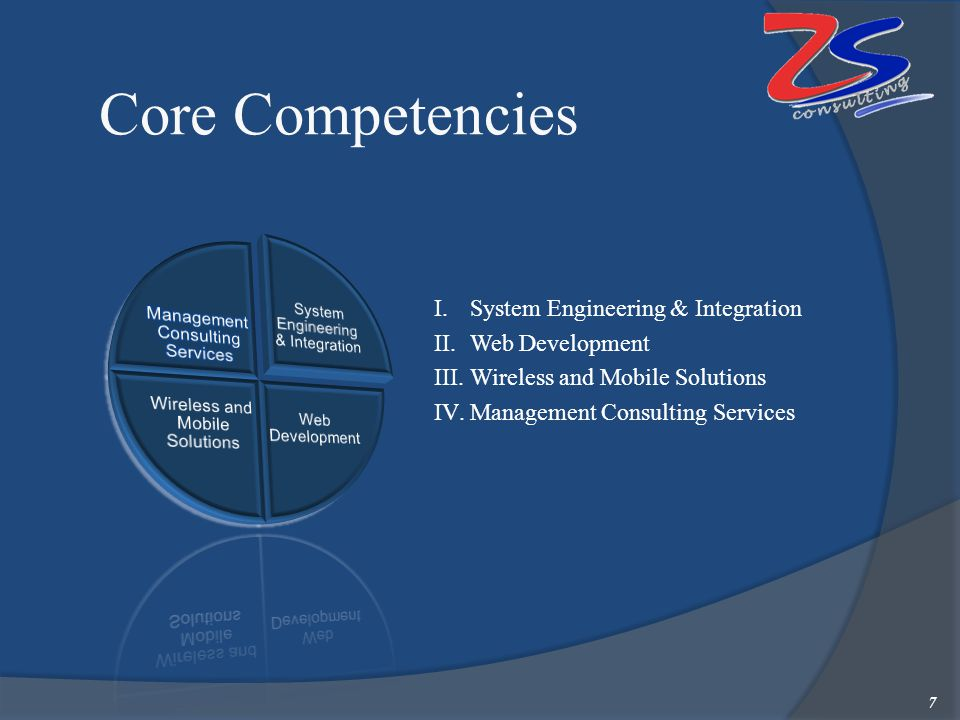 Core Competencies 7 I.System Engineering & Integration II.Web Development III.Wireless and Mobile Solutions IV.Management Consulting Services