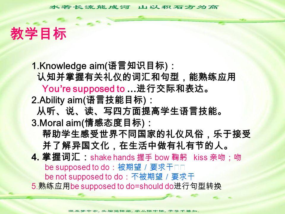 教学目标 1.Knowledge aim( 语言知识目标 ) : 认知并掌握有关礼仪的词汇和句型,能熟练应用 You're supposed to … 进行交际和表达。 2.Ability aim( 语言技能目标 ) : 从听、说、读、写四方面提高学生语言技能。 3.Moral aim( 情感态度目标 ) : 帮助学生感受世界不同国家的礼仪风俗,乐于接受 并了解异国文化,在生活中做有礼有节的人。 4.