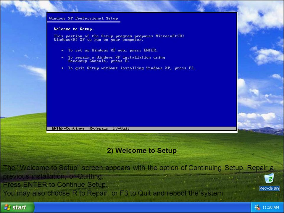 3) Windows XP Licensing Agreement The Windows XP Licensing Agreement screen, otherwise known as EULA, displays the legal in s and out s of this particular software package.