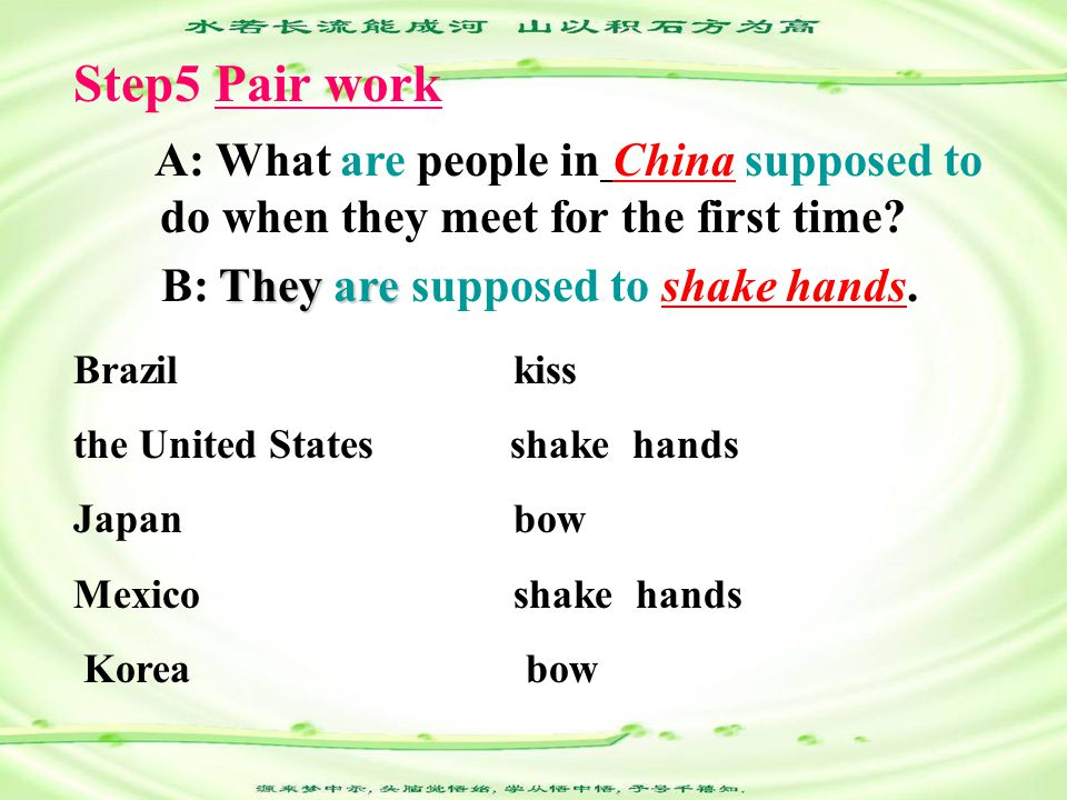A: What are people in China supposed to do when they meet for the first time.